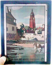 1930's GLASS 8 x 10 AUTOCHROME --- Le Jura ses routes d'autocars by G. FRANÇOIS