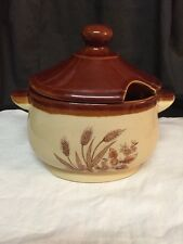 Vintage Small Soup Tureen Brown Crock
