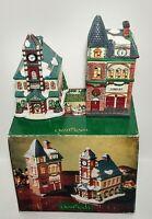 Grandeur Noel ILLUMINATED PORCELAIN HOUSE SET Village Library & School w/ Box