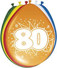 8 Luftballons Zahl 80 Geburtstag bunt