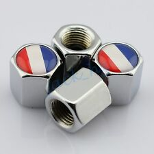 Silver Tire Tyre Valve Caps Stem Air Hat Covers Set France French Flag Emblem