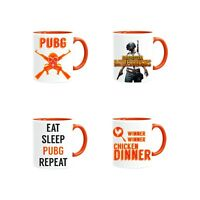 Selection of PUBG Mugs With Orange Handle by Forever Personal Designs