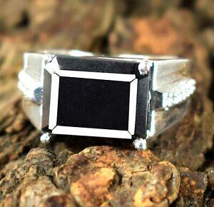 7.29 Ct   Black Diamond Solitaire 925 Silver  Men's High Value Ring