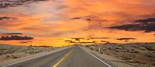 """Beautiful Warm Sunset America Desert Landscape Wall Framed Canvas Picture 14x32"""""""