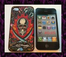 "★★★ Coque TPU  RIGIDE Apple iPhone 4G/4S  Design ED Hardy ""TETE DE MORT SABRE"""