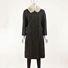 Black Persian Lamb 7/8 Coat with Mink Collar - Size M (Vintage Furs)