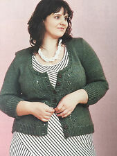 KNITTING PATTERN Ladies 3/4 Sleeve Fitted Cardigan Lace Panels Design PATTERN