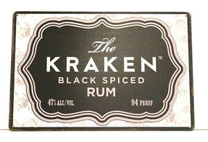 New Kraken Black Spiced Rum Tin Metal Poster Sign Art Man Cave Alcohol Liquor