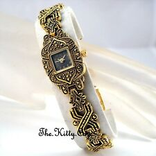 Colonial Arabesque Cutwork Gothic Crosses Gold Plt Marcasite Ladies Dress Watch