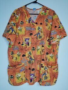 The Wonderful World Of Disney Women's 2 XL Scrub Top  Halloween Mickey Mouse
