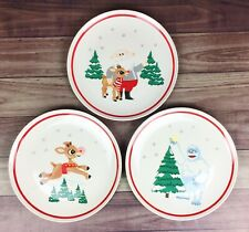 Retired Pottery Barn Kids Rudolph the Red Nosed Reindeer Melamine Plate Set Of 3