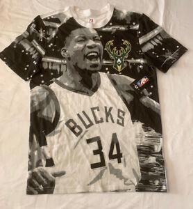 NBA Milwaukee Bucks Giannis Antetokounmpo Graphic T Shirt Men's Medium NWT! RARE