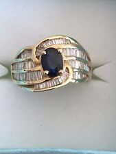 14 KT SOLID YELLOW GOLD 1CT TW DIAMOND AND SAPHIRE LADIES RING