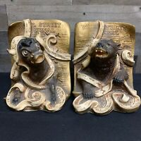 1969 Universal Statuary Corp Chicago Wall Street Journal Bear & Bull Bookends