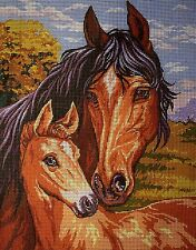 "Needlepoint Kit Tapestry  ""Horses"" 23x30 cm. (9""x11.8"")  printed canvas 073"