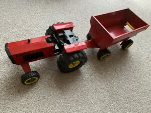 Large Tonka Vintage Red Tractor And Trailer 1980's, Pressed Steel.