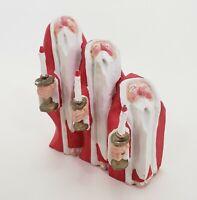 "Triple Santa Figurine w Candlesticks 4.5"" Red Heavy Resin Vtg Christmas Barefoot"