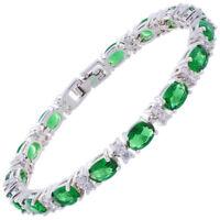 Sarotta Jewelry Oval Cut Green Emerald White Gold Plated Tennis Bracelet
