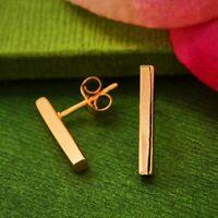 18K Rose Gold Vermeil Modern Simple Bar Studs Post Earrings - Mom Wife Gift