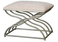 Contemporary Curved SILVER Nickel Metal X BENCH Seat Ivory Iron Modern Open