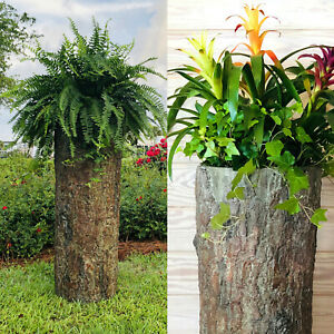 Bushy Box Large Hollow Log Planter 🌳 Tall Outdoor Garden Yard Pot & Well Cover