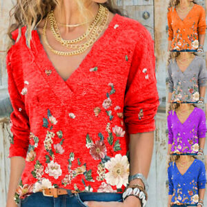 Womens Blouse Printed Loose Ladies Holiday Shirt Floral Casual Tee Basic Tops