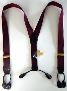 "MEN""S ~ Burgundy ~  Elastic Suspenders ~ Braces ~ Button Leather Ends  ~ NEW"
