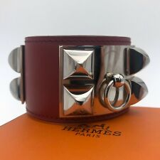 Hermes Collier de Chien CDC MEDOR Red Leather Palladium Bracelet Bangle Small