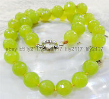 """beautiful 8mm Faceted Peridot Round Beads Gemstone Necklace 18"""" AAA"""
