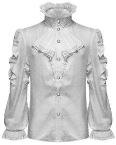 Devil Fashion Mens Gothic Shirt Top White Steampunk Vampire Frilled Cravat Jabot