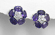 Sterling Silver Genuine Natural Amethyst & CZ Flower Pushback Stud Earrings
