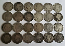 More details for 24 queen victoria young head 6d sixpences coins all clear dates 1844 -1887.