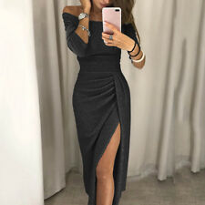 Women's Off Shoulder Long Sleeve Bodycon Evening Cocktail Party Long Dress X8X7