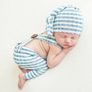Newborn Photo Props Baby Boy Girls Knot Caps Striped Costume Photography Outfits