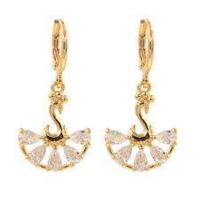 Women Fashion White Cubic Zirconia Peacock CZ Dangle Drop Earrings Jewelry