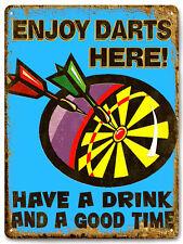 DART BOARD metal sign drinks / beer VINTAGE style bar pub mancave wall decor 601
