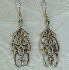 Vintage Victorian Style Sterling Earrings, 2mm Champaign CZ's,  Konder #1020