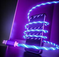 LED flowing Light Up USB Sync Type-C iPhone Charger Data Cable Charging Cord