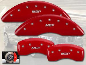2008-2010 BMW 535i Base Front + Rear Red MGP Brake Disc Caliper Covers 4pc Set