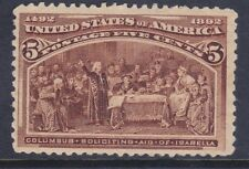 US 234 MNH OG 1893 5¢ Columbus Soliciting Aid From Queen Isabella XF Scv $140.00