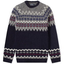 Barbour Core Essentials Wetheral Wool Fairisle Crewneck Sweater Navy Mens Small