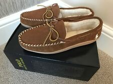 Polo Ralph Lauren Tan Suede Charlie Moccasin Slippers With Logo UK Size 7 EU 41