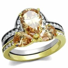 Pear Cubic Zirconia Engagement Costume Rings