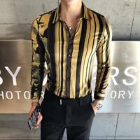 Men's New Fashion Long Sleeve Stripe Dress Shirt Business Nightclub Party Tops