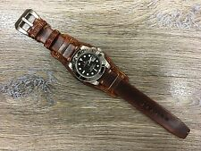 Gradual Brown Leather Craving art Cuff Watch Strap - Fit for 19,20mm Lug watch