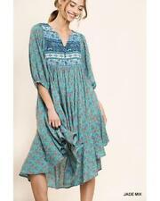Delilah Peasant Dress with High Split Double Ruffle Side Hem in Jade