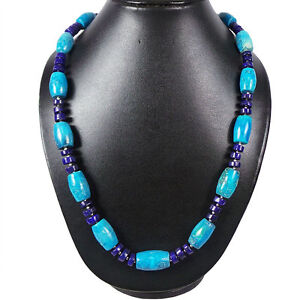 Barrel Cut Antique Look Natural Nevada Turquoise & Lapis Necklace w Silver Hook