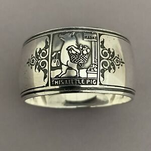 Tiffany & Co Sterling Silver Nursery Rhyme Napkin Ring Little Pig Went to Market