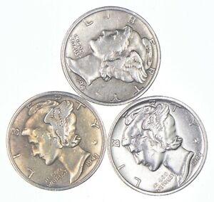 Lot of 3 AU/Unc 1941, 1943, 1944-S Mercury Dimes 90% Silver Collection *247