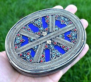 Turkmen Silver Afghan Ethnic Kuchi Jewelry Box Tribal Metal Vintage Trinket Case